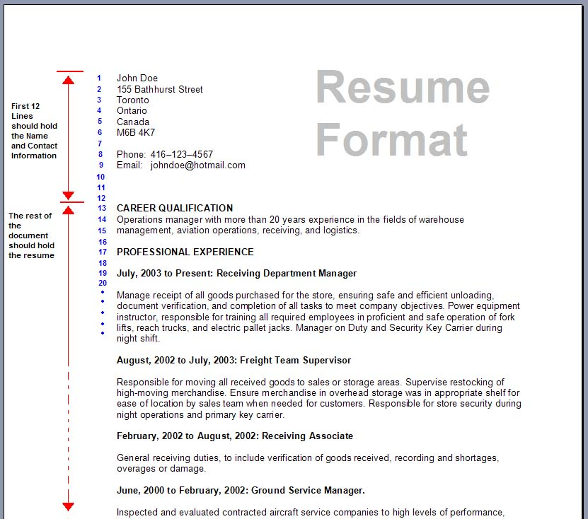 view suggested resume format